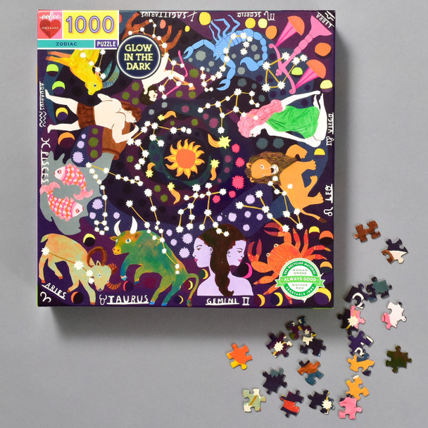 ZODIAC GLOW IN THE DARK PUZZLE, front of box and pieces