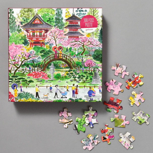 Japanese Tea Garden Puzzle by Michael Storrings, front of box with pieces