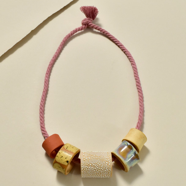 Five Clay Beads on Rope Necklace by Curious Clay