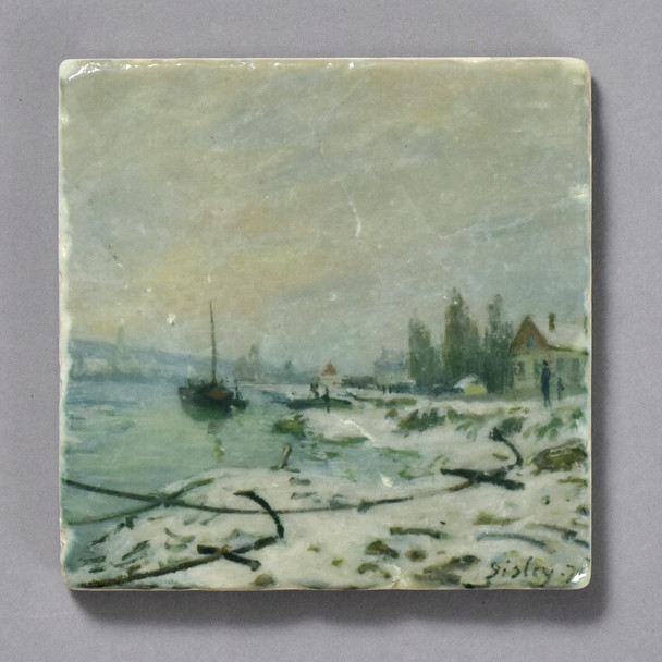 Sisley Mooring Lines, the Effect of Snow at Saint-Cloud Tile by The Painted Lily