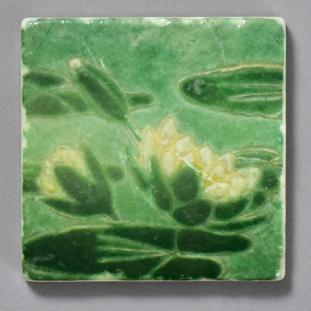 Grueby Faience Lily Pad Tile by The Painted Lily