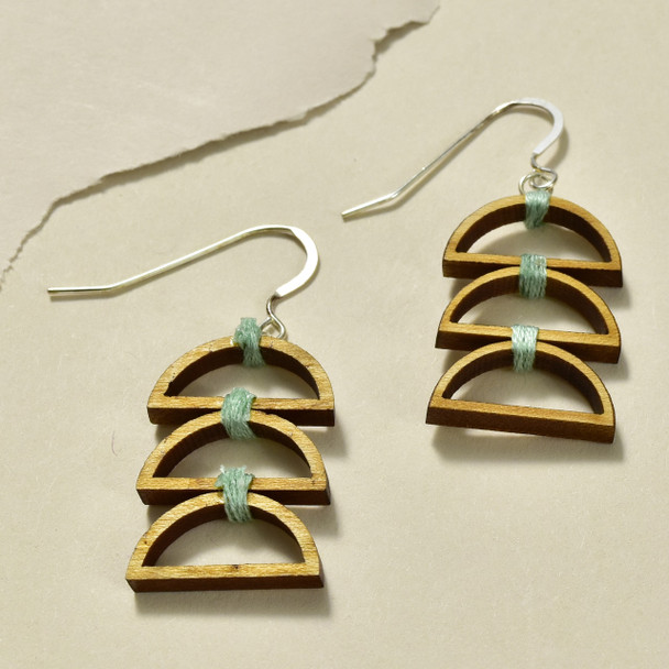 Triple Semi-Circle Wood Earrings by Emaye Design