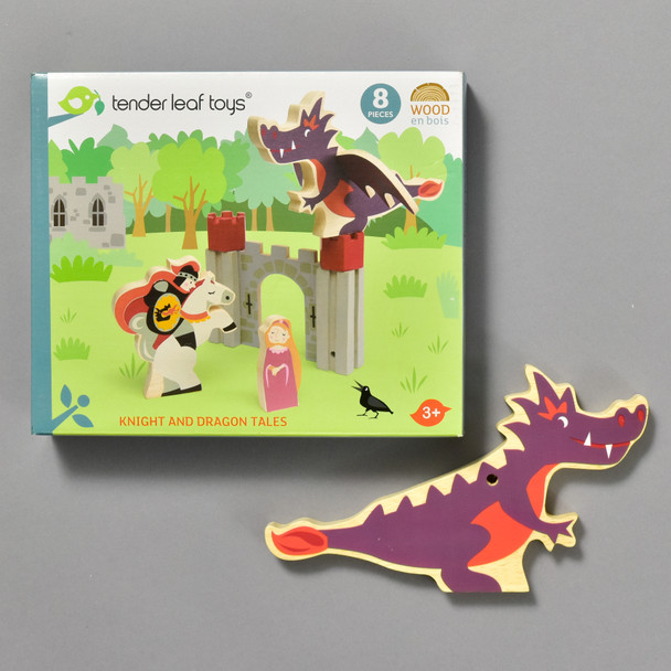 Knight & Dragon Tales, front of box and piece
