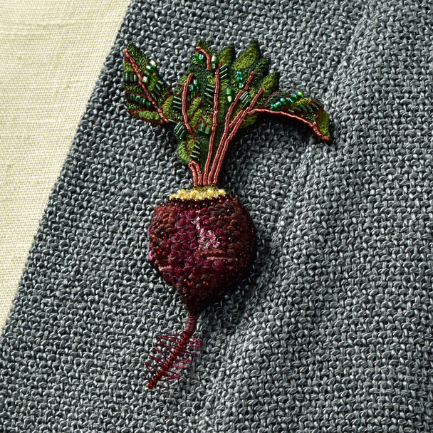 Embroidered & Beaded Beet Pin