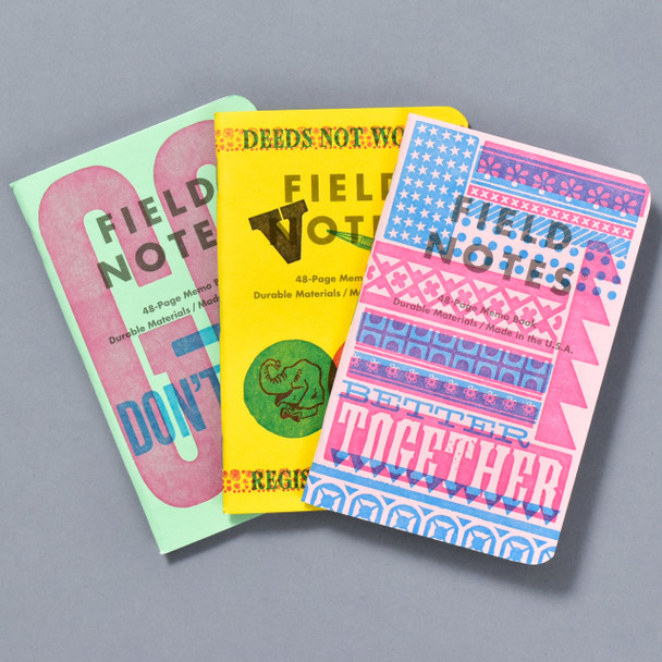United States of Letterpress Notebooks B (Set of 3, fanned out)