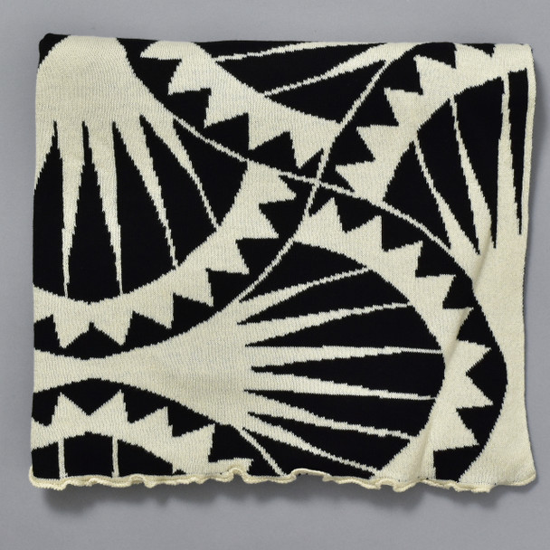 Cotton Shawl Sea Urchin Black & Cream, close up