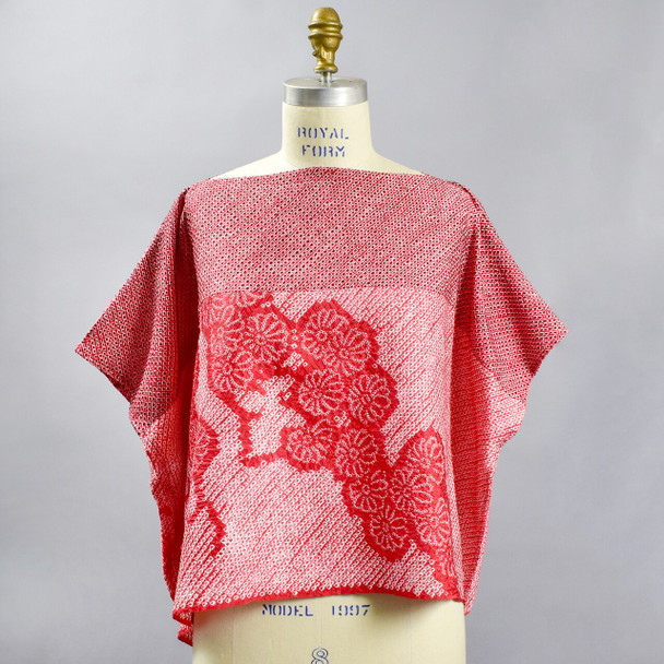 One Of A Kind Light Red with Cascading Flowers Shibori Blouse, front, on mannequin