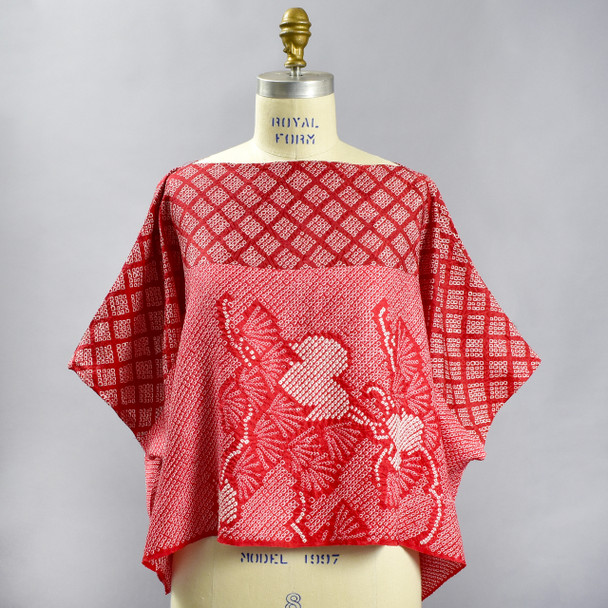 One Of A Kind Red Shibori Blouse, showing front, on mannequin