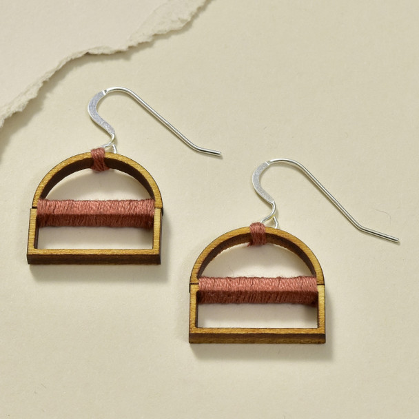 Wrapped Arch Wood Earrings