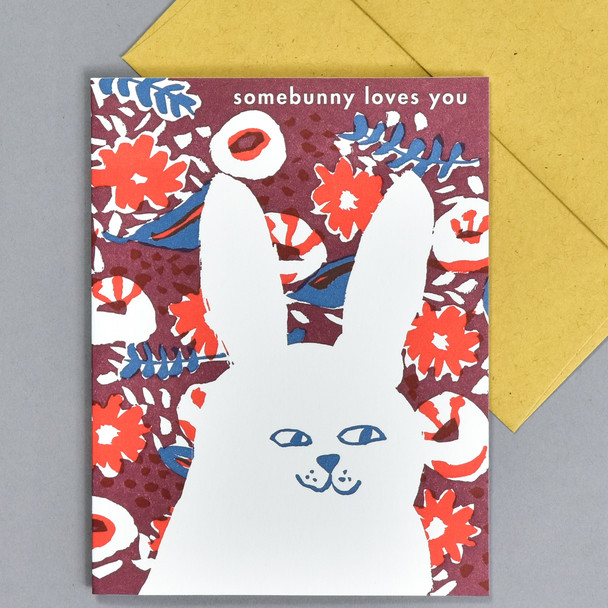 Somebunny Loves You Notecard, front, with envelope
