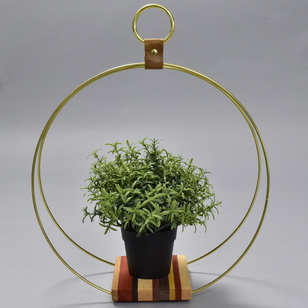Large Exotic Wood and Brass Plant Stand by Honorable Oak, with plant