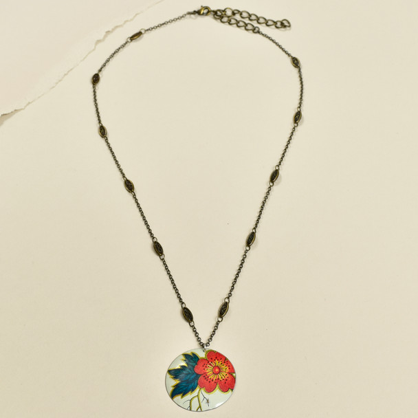 Vintage Tin Simple Circle Necklace