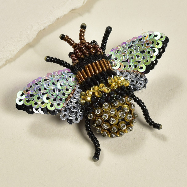Embroidered & Beaded Honey Bee Pin