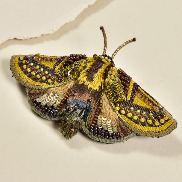 Embroidered & Beaded Gold Moth Pin