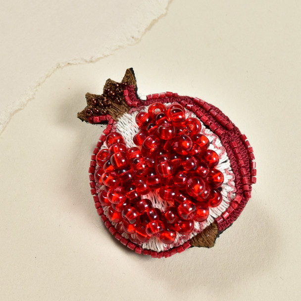 Embroidered & Beaded Pomegranate Pin