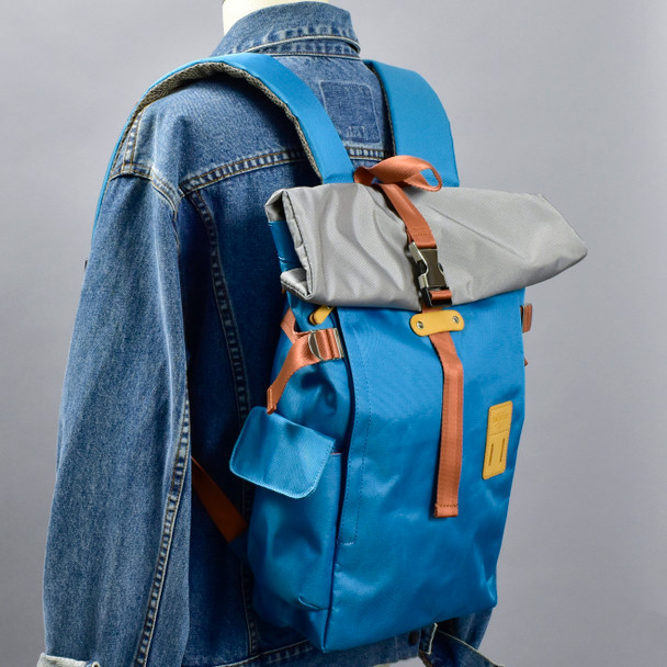 Roll-top Backpack - Ice Blue, on mannequin