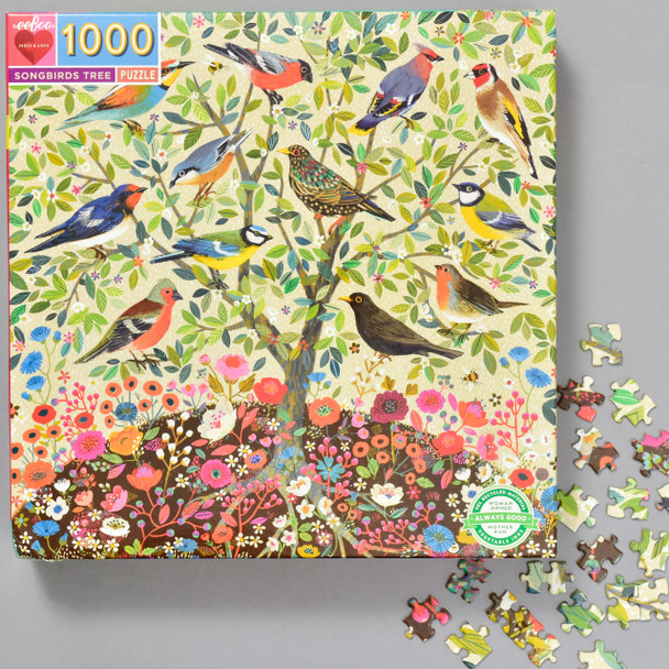 Songbirds Tree 1000 Piece Puzzle, front of box with pieces