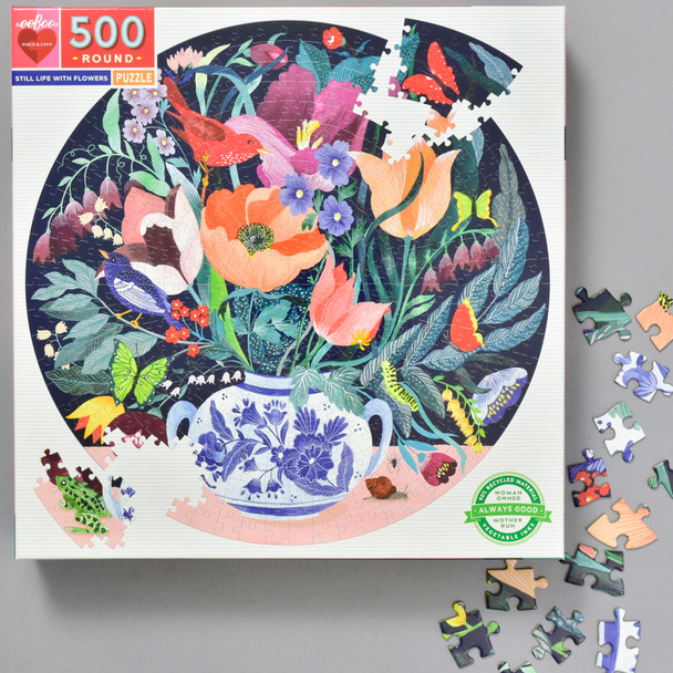 Still Life With Flowers 500 Piece Puzzle, front of box with pieces
