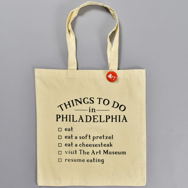 Things To Do in Philadelphia Tote, front, with button