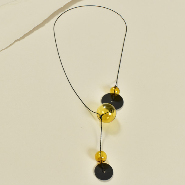 Amber Glass Quince Y Necklace