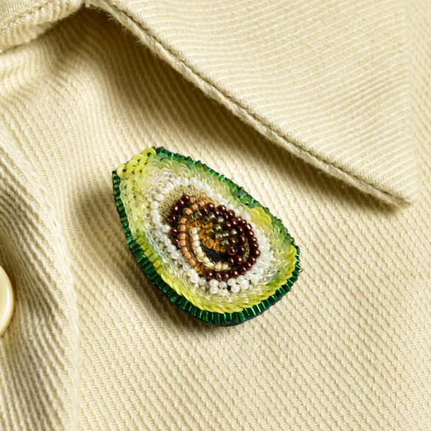 Embroidered & Beaded Avocado Pin, on jacket