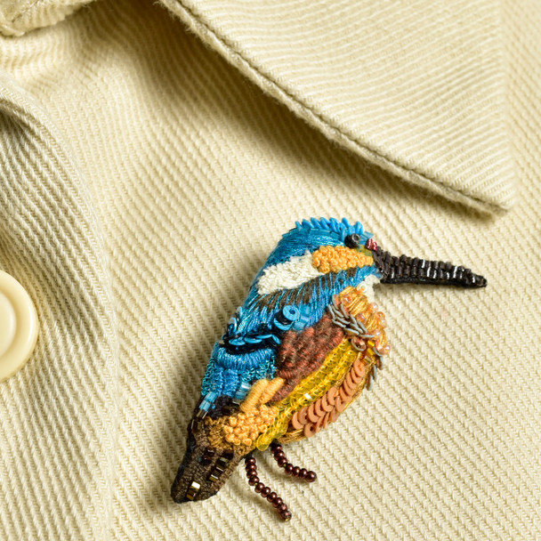 Embroidered & Beaded Kingfisher Pin
