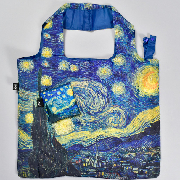 Starry Night Folding Tote, pictured with pouch