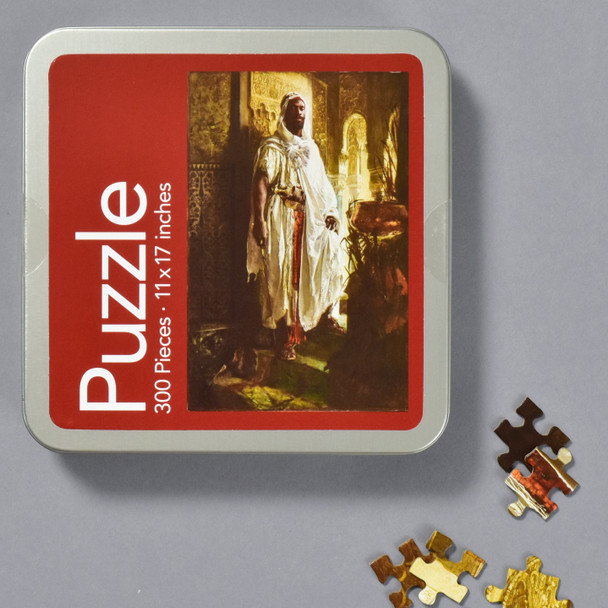 Charlemont: The Moorish Chief Puzzle, front of tin with pieces