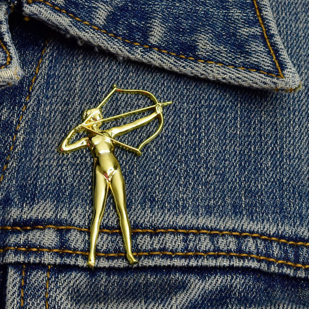 Diana Lapel Pin on denim jacket