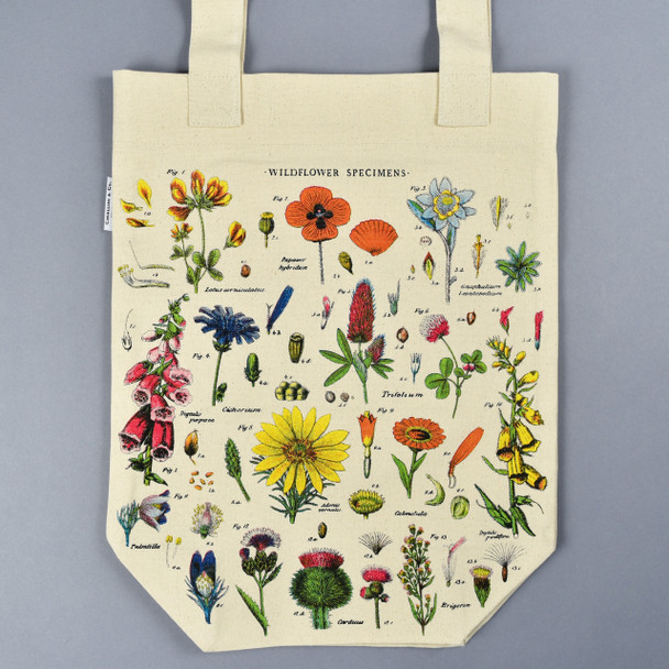 Cream Wildflower Specimens Tote Bag Front Lying Flat