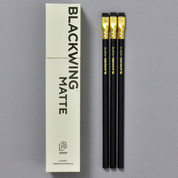 Blackwing Soft Graphite Pencils •Matte Black, pencils and front of box