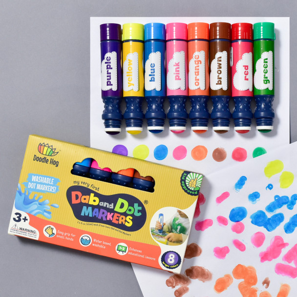 MARKERS DAB AND DOT example of use with markers and packaging