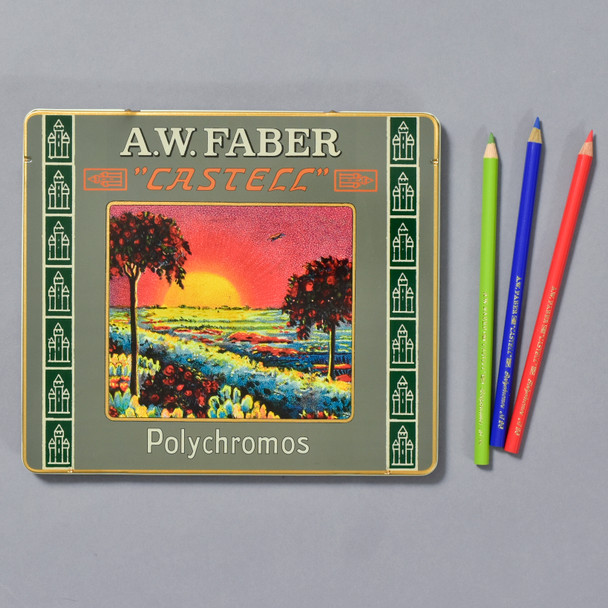Faber-Castell Polychromos Color Pencils 111th Anniversary Tin front with some of the pencils