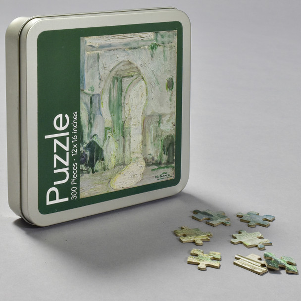 Henry Ossawa Tanner Doorway in Tangier Puzzle, front of tin with puzzle pieces