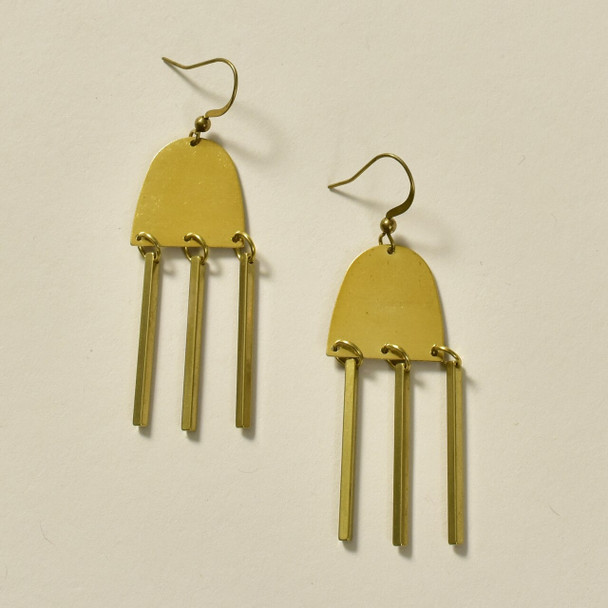 Moon-Ray Brass Earrings by GeoMetric Gem