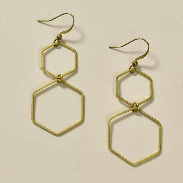 Double Hexagon Brass Earrings by GeoMetric Gem