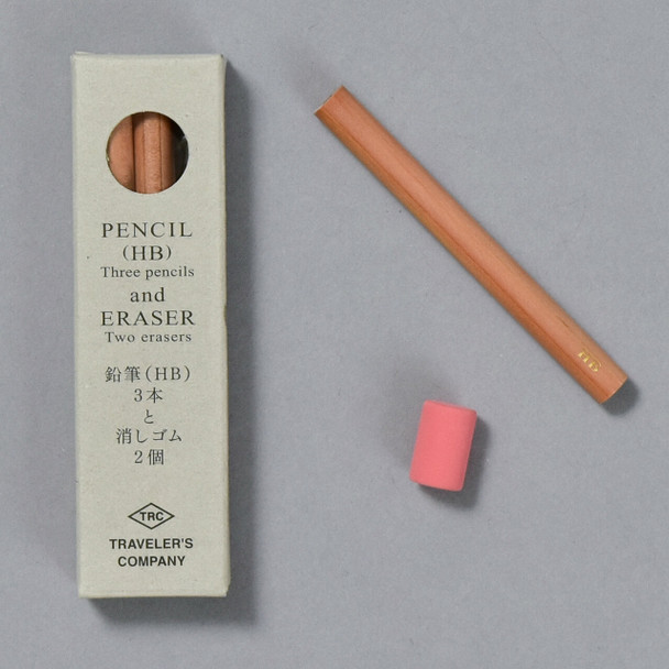 Traveler's Company  Brass Pencil and Eraser Refills, package with pencil and eraser