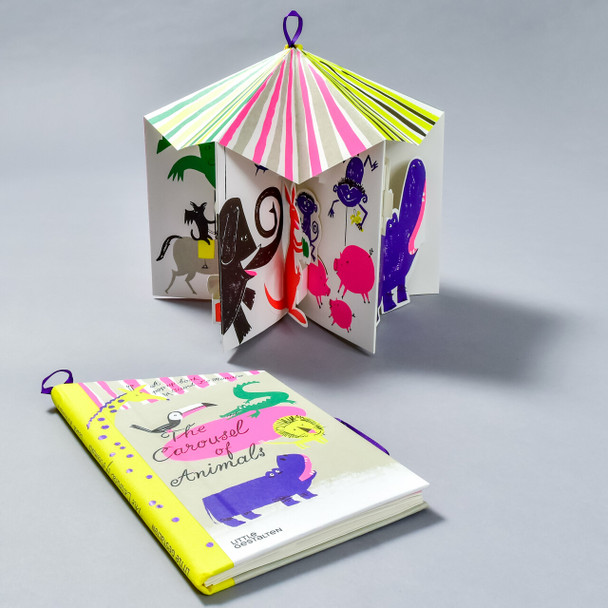 Carousel of Animals Pop-up Book in use and flat