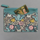 Blue and Pink William Morris & Co. Pouch Set Larger Pouch Back Zipper Pocket Open
