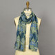 Blue and Green Iris Silk Scarf on mannequin