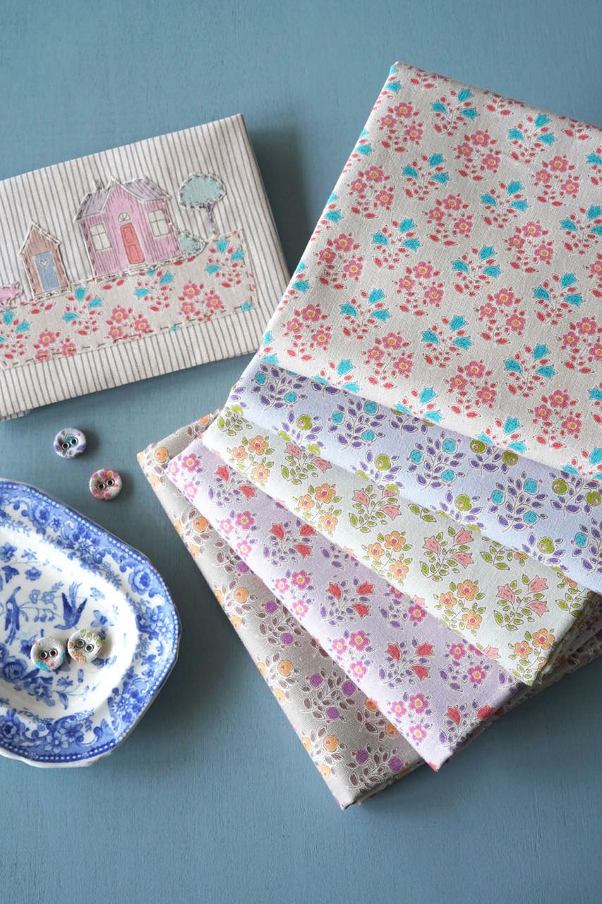 Tiny Farm Bundle of 5 fabrics. Flowers and Berries
