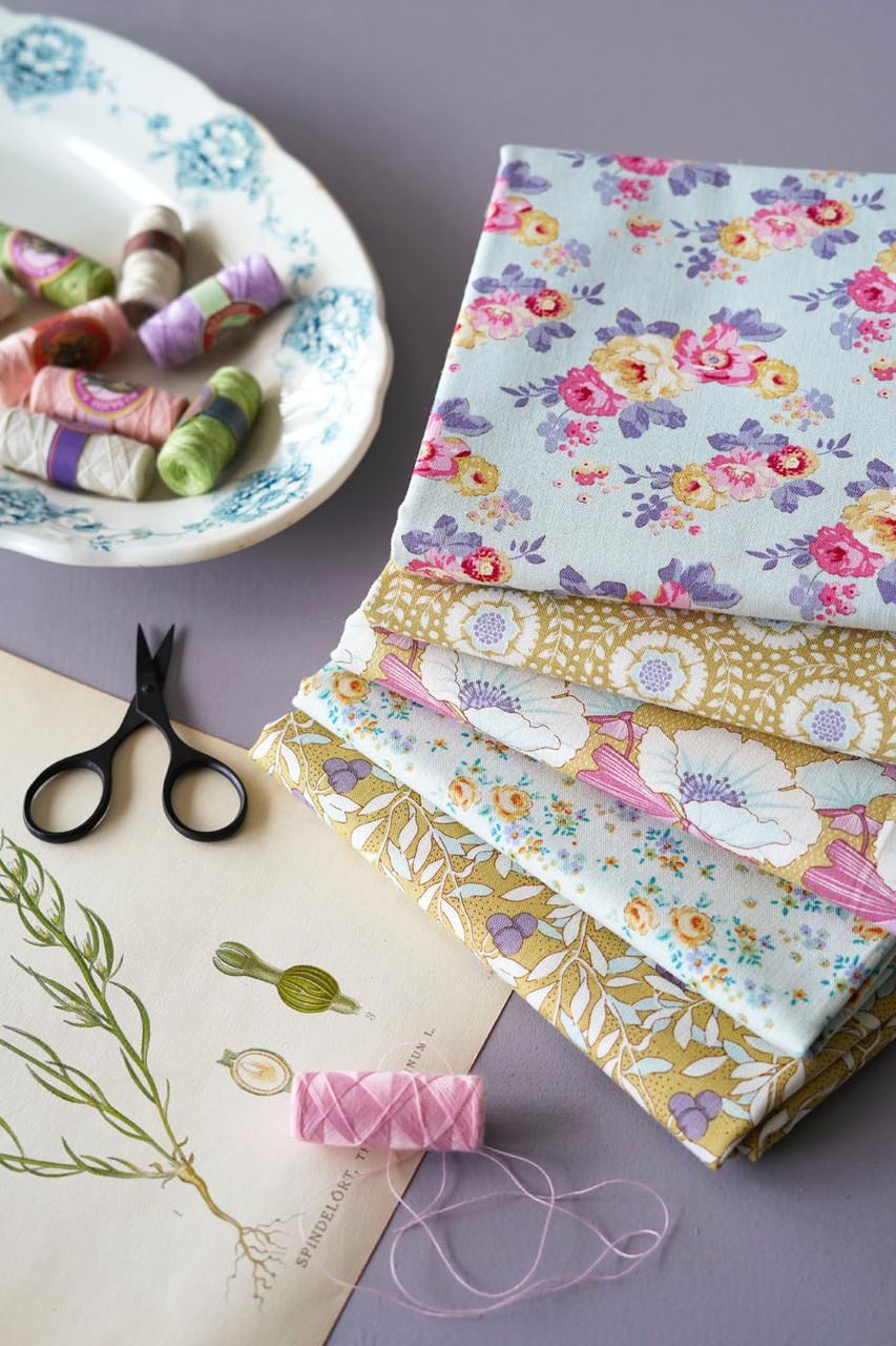 TILDA Maple Farm in DIJON / TEAL, Fat Quarter Bundle of 5 Fabrics