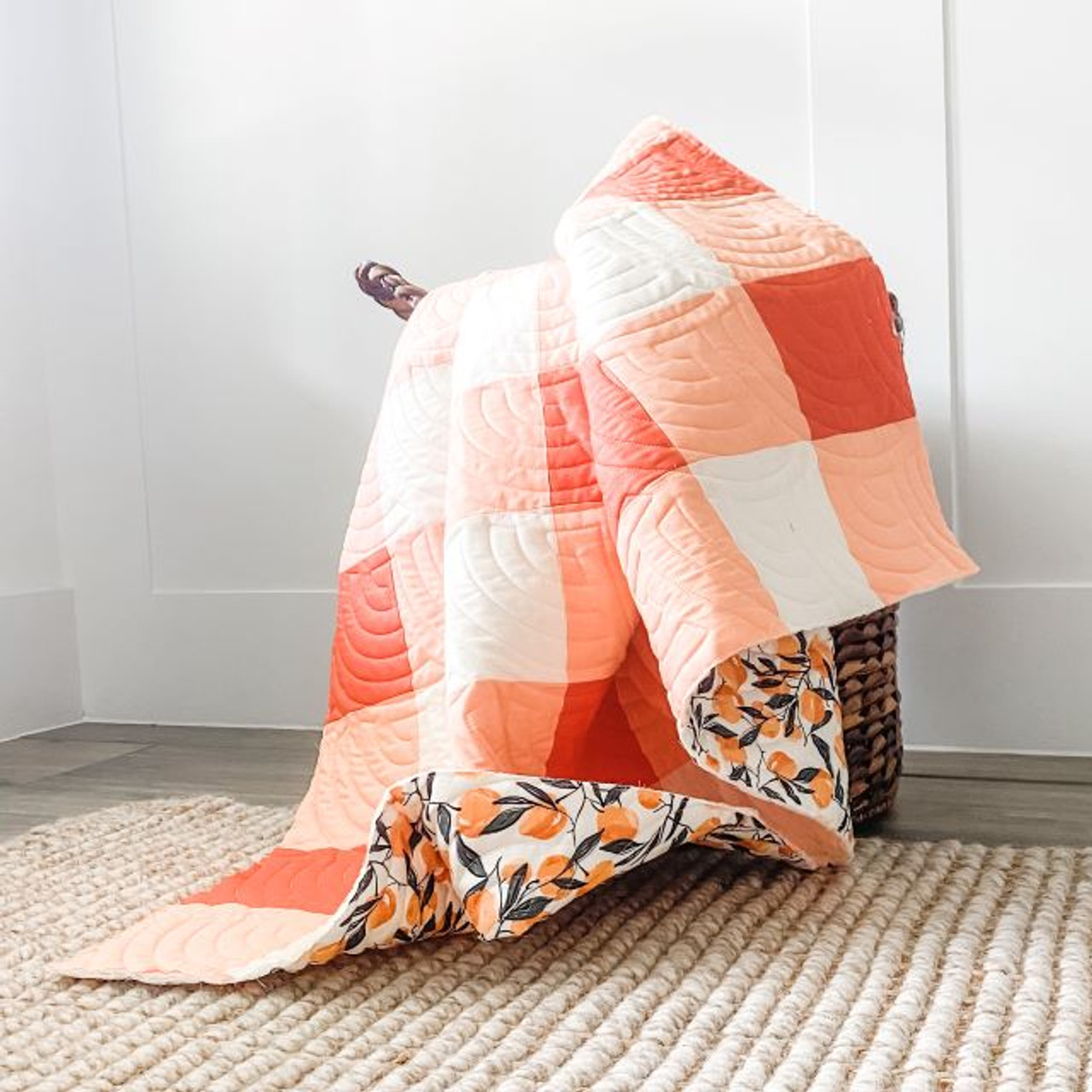 "QUILTERS CANDY, GINGHAM QUILT Kit in WARP and WEFT Ruby Star Society Orange 55"" x 65"" (140 x 165 cm)"