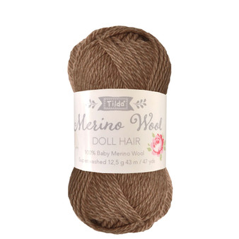 TILDA DOLL HAIR 140054 Brown - 100% Baby Merino Wool - TILDA BASICS and ACCESSORIES, ELEGANTE VIRGULE CANADA, Canadian Fabric Shop, Quilting Cotton