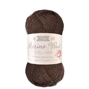 TILDA DOLL HAIR 140055 Dark Brown - 100% Baby Merino Wool - TILDA BASICS and ACCESSORIES, ELEGANTE VIRGULE CANADA, Canadian Fabric Shop, Quilting Cotton