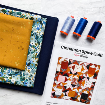 "CINNAMON SPICE Quilt Kit - Throw Size 48"" x 64"" (122 x 162 cm) - ELEGANTE VIRGULE CANADA, CANADIAN FABRIC SHOP, Quilting Cotton, Rifle Paper Co, Kona, AGF Decostitch"