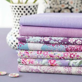 TILDA WOODLAND +  CHAMBRAY - Lavender / Lilac Bundle of 7 fabrics 100% Cotton. TILDA BASICS, Elegante Virgule Canada, Canadian Quilt Shop, Quilting Cotton