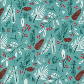 CLOUD 9 Fabrics, JINGLE MINGLE, Winter Flora By Circe Oropeza, 100% ORGANIC Cotton - by the half-meter, ELEGANTE VIRGULE CANADA, CANADIAN FABRIC SHOP, Quilting Cotton, Organic Fabric