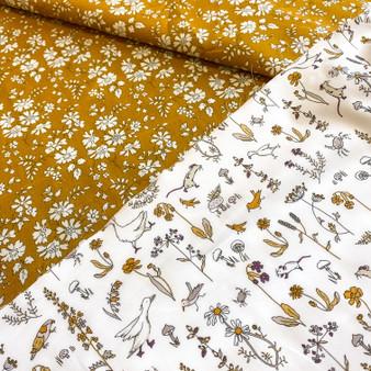 LIBERTY Theo + Capel Mustard Duo - !00% Tana Lawn Cotton, ELEGANTE VIRGULE CANADA, Canadian Quilt Fabric Shop