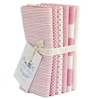 TILDA CLASSIC BASICS in Pink, Fat Quarter Bundle of 6 Fabrics - Elegante Virgule Canada, Canadian Quilt Shop, Quilting Cotton